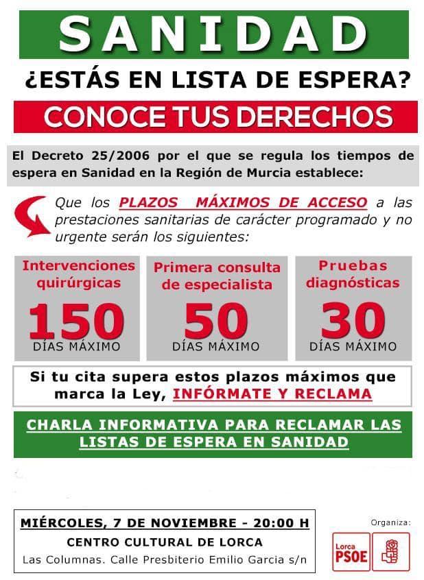 El PSOE organiza una mesa informativa para asesorar a los lorquinos en lista de espera sobre cómo pueden reclamar para adelantar su cita médica