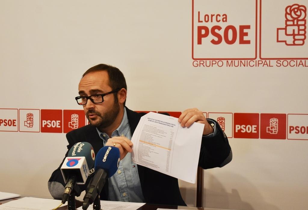 """PSOE: """"El PP de Lorca no es creíble prometiendo en 15 días lo que no ha sido capaz de hacer en 12 años"""""""