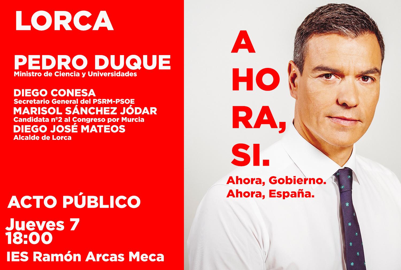El Ministro de Ciencia y Universidades, Pedro Duque, visitará mañana Lorca